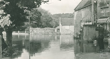 Flooding outside the Inn at Freshford, 11 July 1968