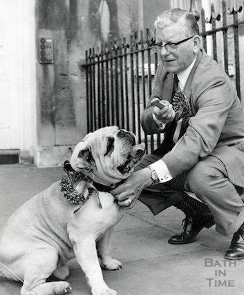 Sir Edward Brown campaigning with a bulldog, Bath, 13 June 1970