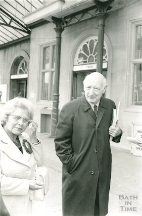 Lady Brown and Sir James Pitman, Bath Spa Station 9 October 1974