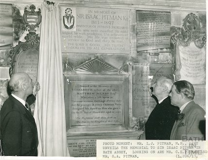 Unveiling the memorial to Sir Isaac Pitman in Bath Abbey, January 1960