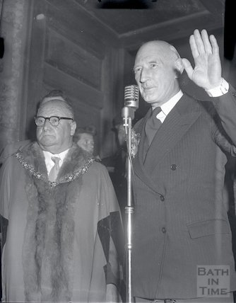 Sir James Pitman after winning the election at Bath to remain MP, 9 October 1959
