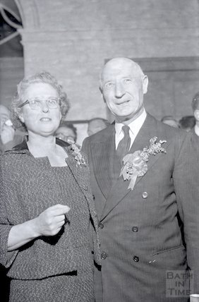 Sir James and Lady Pitman after winning the election at Bath to remain MP, 9 October 1959