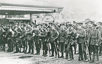 Troops assemble in the goods yard at Bath Spa Station, c.1916