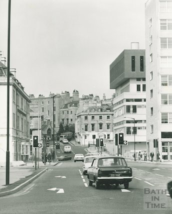 A brutalist view up Charles Street, Bath, 20 May 1974