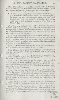 Regulations for the Company in Bath, 1780