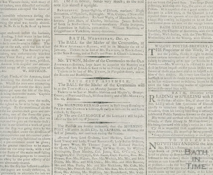 Announcing Balls at both the Old and New Assembly Rooms, December 1780