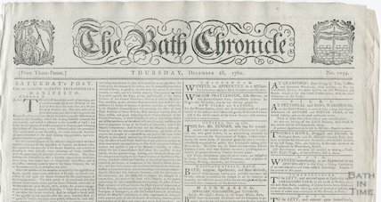 Bath Chronicle front page and mast head, December 28 1780