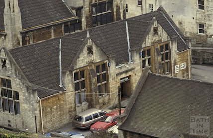 Looking down from the roof of St Swithin's Church, Walcot Street, April 1992