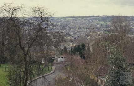 View from Lansdown Crescent looking south towards Park Street, April 1992