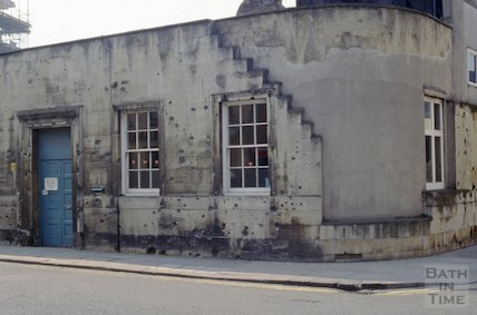 Shrapnel damage, old Employment Exchange, James Street West, April 1992