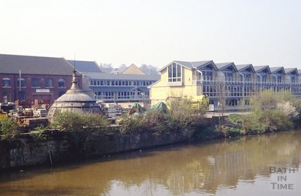The rear of Newark Works on Lower Bristol Road from the River Avon, April 1992