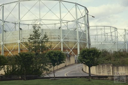 The Gas holders on the Western Riverside site, Bath, May 1992