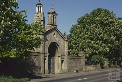Beckford's Tower and cemetery gate, Lansdown, May 1992