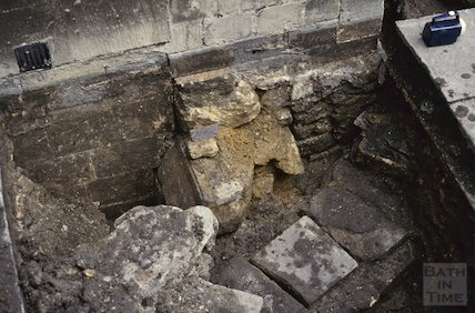 Pre-16th century foundations, Bath Abbey, September 1992