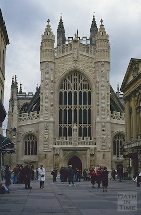 The newly cleaned Bath Abbey west front, Bath, October 1992
