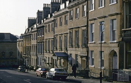 Russell Street, Bath and the Queensbury Hotel, December 1992
