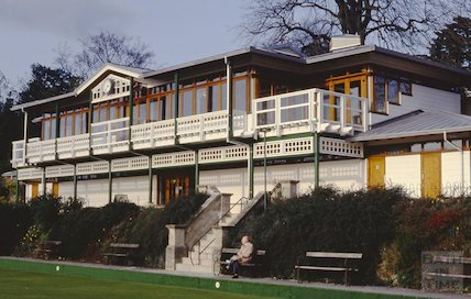 New pavilion and bowls club, Royal Victoria Park, Bath, March 1993