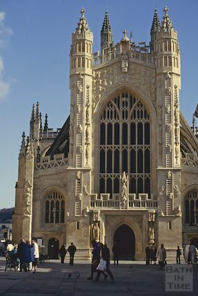 Bath Abbey, newly cleaned West Front, March 1993