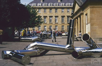 Stainless steel sculpture outside the Assembly Rooms, June 1993