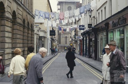 Festival banners, Green Street, Bath, June 1993