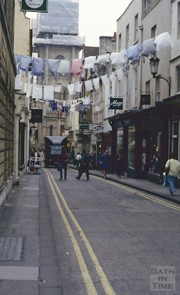 Festival banners, Green Street, Bath, June 1993