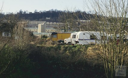 Traveller's camp, Hampton Row, February 1994