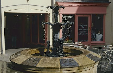 Carriages at Three and fountain, Seven Dials, Sawclose, April 1994
