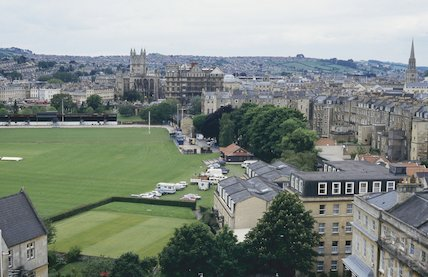 View of the Recreation Ground from St Mary's Church, Bathwick, June 1994