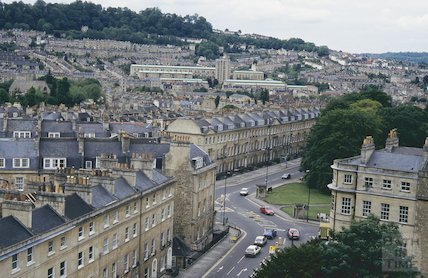 View of Sydney Place and Snow Hill from St Mary's Church, Bathwick, June 1994