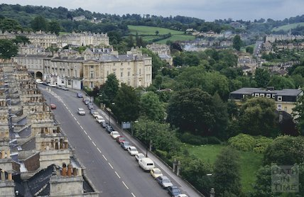 View up Bathwick Hill from St Mary's Church, Bathwick, June 1994
