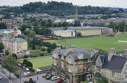 View of the Recreation Ground and Sports Centre from St Mary's Church, Bathwick, June 1994