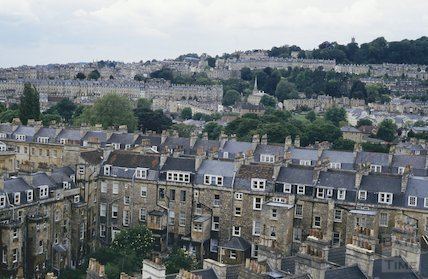 View towards Camden Crescent from St Mary's Church, Bathwick, June 1994