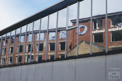 Reflection of the derelict Bath Cabinet Makers works, Lower Bristol Road, July 1994
