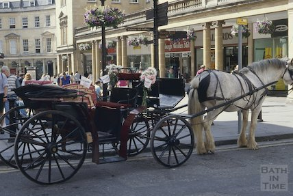 Horse drawn cart, Union Street, Bath,  July 1994