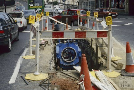 Gas main renewal, Walcot, July 1994