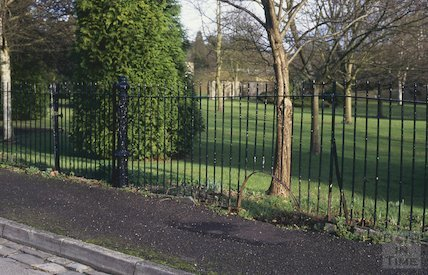Railings with a mysterious gatepost and opening, January 1995