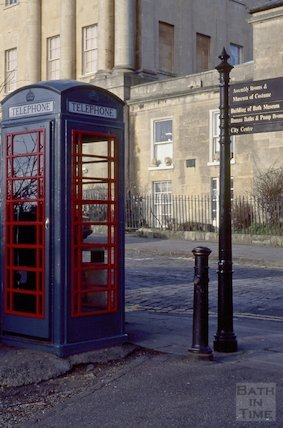 Telephone Box and finger post, Royal Crescent, Bath, January 1995