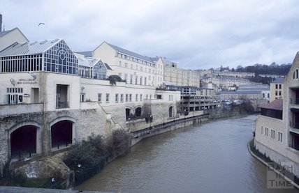 View of River Avon from Pulteney Bridge, March 1995