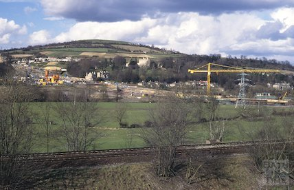 Batheaston Bypass under construction April 1995