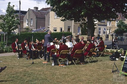 Brass band at the Memorial Garden, Moorland Road, August 1995