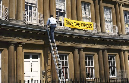 A Save the Circus banner goes up, Circus, Bath, May 1996