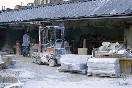 Stonemason's yard, Upper Bristol Road, January 1997