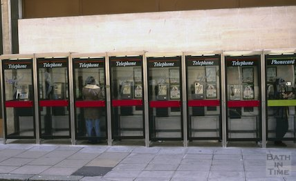 A row of telephone booths, New Orchard Street, January 1997