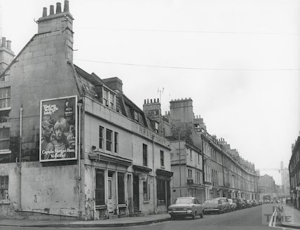 The junction of Great Stanhope Street and New King Street, Bath, 2 Nov 1972