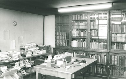 Cook Collection in Work Room, Reference Library, Queen Square, March 1990