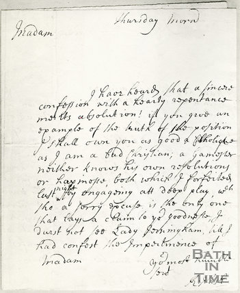 Photo of autographed letter from Richard Beau Nash to Lady Jerringham c. 1730