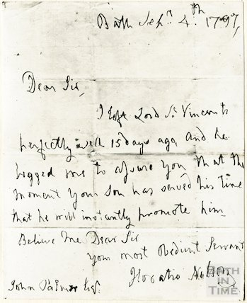 Photo of Nelson's letter to John Palmer from Bath, September 4th 1797