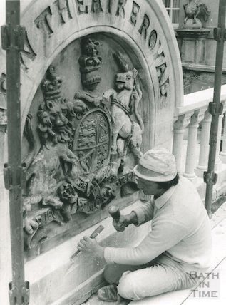 Theatre Royal coat of arms during restoration work, 1975