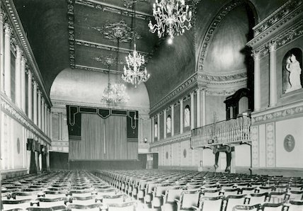 Assembly Rooms, the Ballroom in use as a theatre, c.1920s