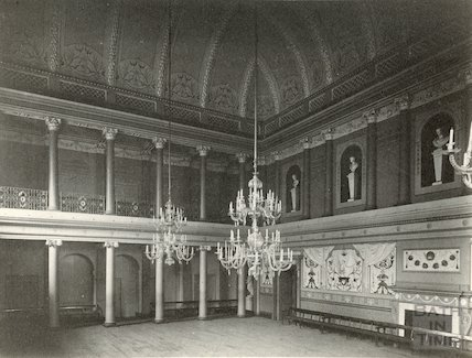 Assembly Rooms, Tea Room showing chandeliers, c.1900